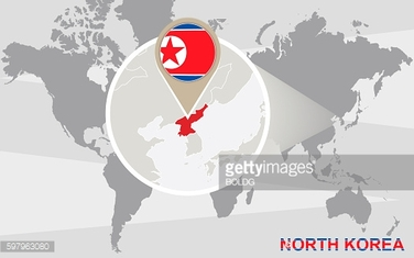 World map with magnified North Korea. Raster illustration.