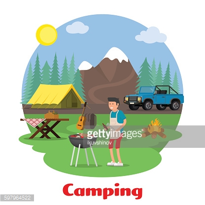 Camping and outdoor recreation concept