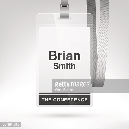Blank conference badge with lanyard