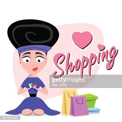 woman holding a credit card. inscription shopping. Flat illustration. Vector