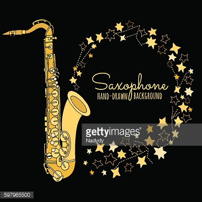 Hand drawn saxophone. Musical instrument vector illustration isolated