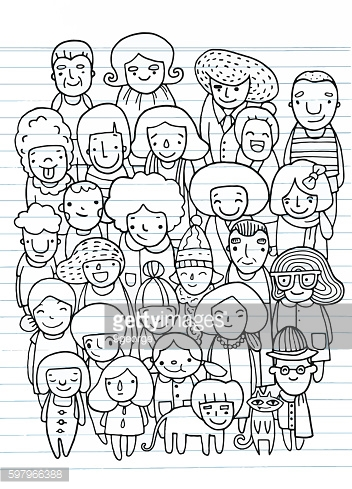 Hand drawings ,Group of people, sketch for your design