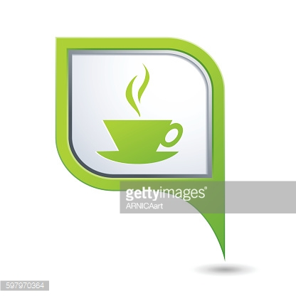 Map pointer with hot coffee cup icon
