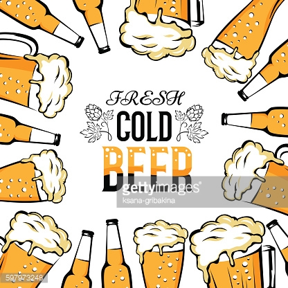 Cold beer banner with frame from mugs, cups and bottles.