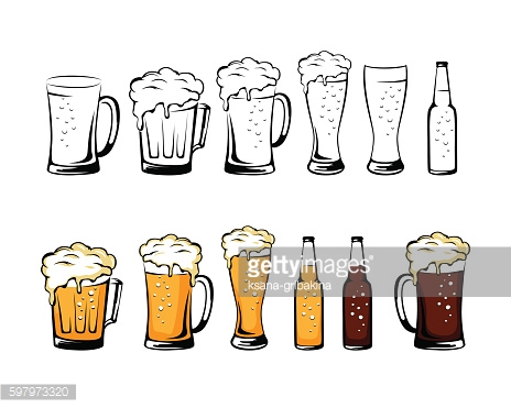 Beer mug collection. Isolated vector illustration