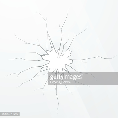 Broken glass on a white background, square illustration