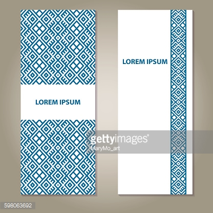 Set of ethnic blue and white banners