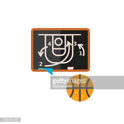 Blackboard with Basketball Strategy Icon