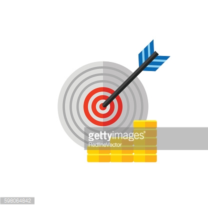Target with Arrow and Coin Stacks Icon