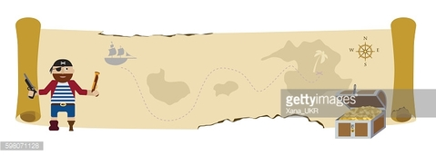 Treasure pirate map flat vector background