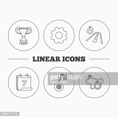 Winner cup, race timer and flag icons.