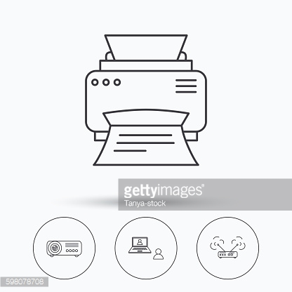 Projector, printer and wi-fi router icons.