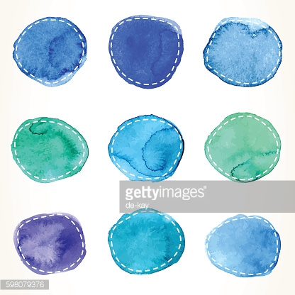 Blue and green dashed watercolor circles