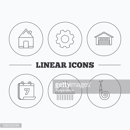 Real estate, garage and shower icons.