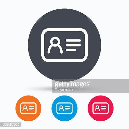 ID card icon. Personal identification document.