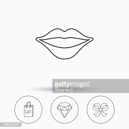Lips kiss, brilliant and gift icons.