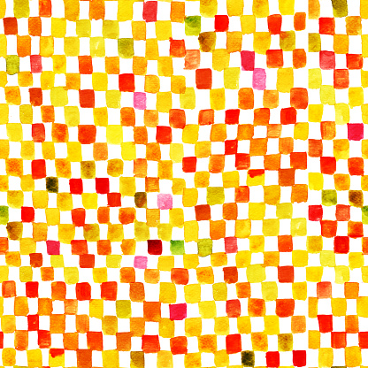 Seamless bright yellow and red watercolor squares background