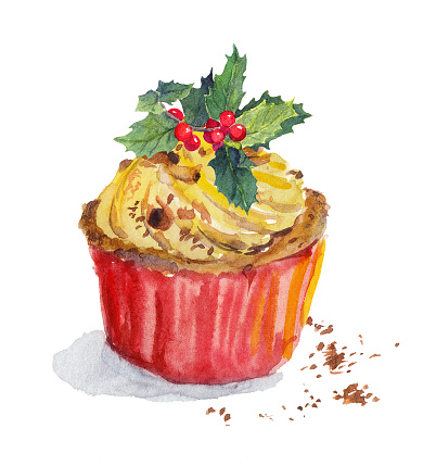 Red holiday cupcake - cup cake, christmas mistletoe. Watercolor