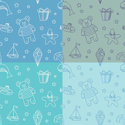 Boy seamless pattern in doole style, set