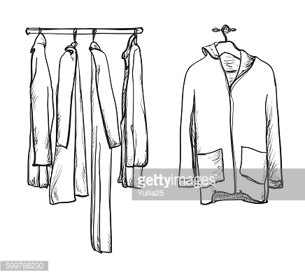 Clothes for autumn. Coat and jacket on the hangers