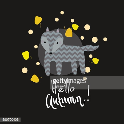 Cute kids spring illustration. Wolf with yellow and orange falling