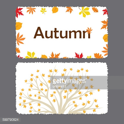 Autumn flyer template with leaves.