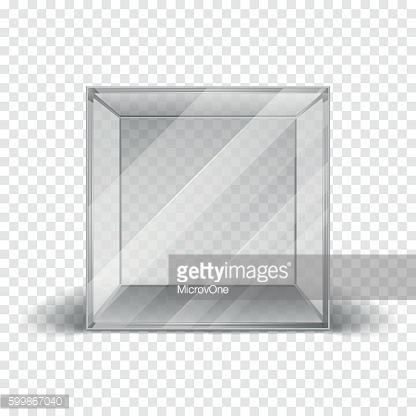 Empty clean glass box cube showcase isolated on checkered background
