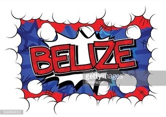 Belize - Comic book style text.