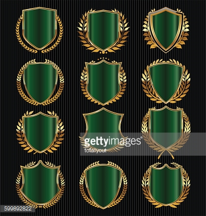 Retro vintage golden laurel wreath and shields collection