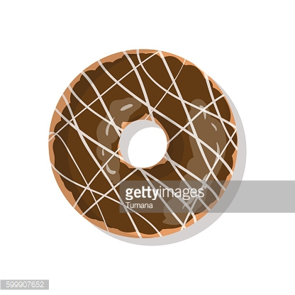 Tasty chocolate sweet donut icon with sprinkles isolated on white