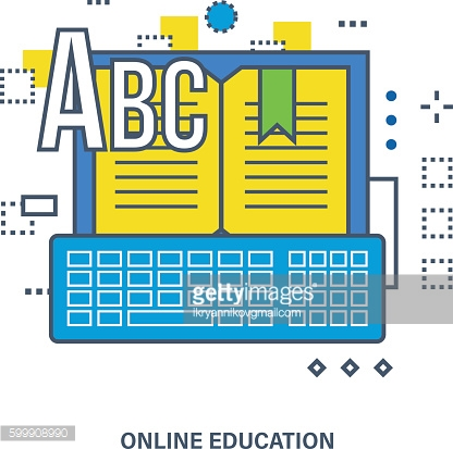 Concept of online education - image book with the keyboard.