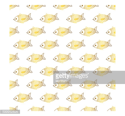 Goldfish cute doodle vector seamless pattern.