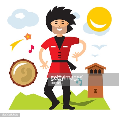 Vector Lezginka dancer. Flat style colorful Cartoon illustration.