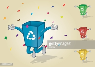 Jumping Recycle Bin With Confetti