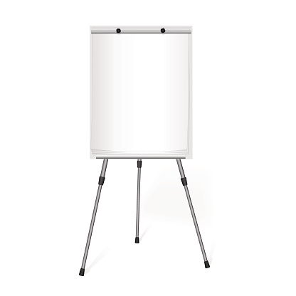 Flip chart with a blank sheet of paper in the