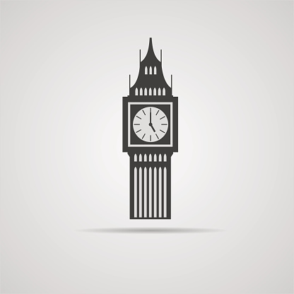 Big Ben tower illustration, isolated. Vector