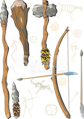 set of weapon prehistoric man