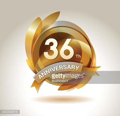 36th anniversary ribbon logo with golden circle and graphic elements