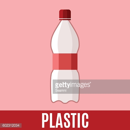 Waste sorting flat icon with plastic bottle and text