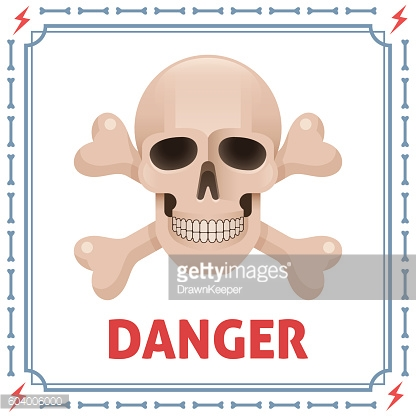 Danger symbol with skull and crossbones