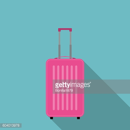 Pink suitcase flat icon vector