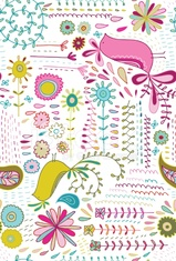 Sketchy Birds Flowers Shapes Seamless Pattern