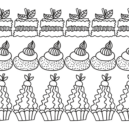 Black and white decorative border of cakes for coloring books.