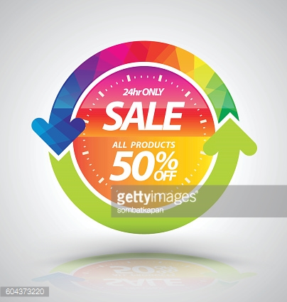Banner sale with clock and circle arrow.