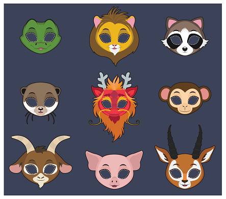 Animal mask set 3 for Halloween and various festivities