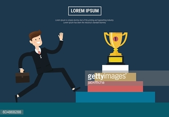 Businessman Walking Up Stairs, Concept Business Man Win Price Fl