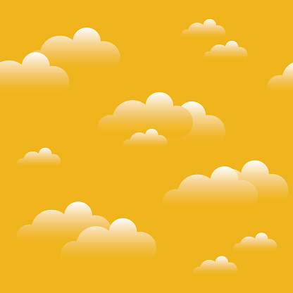 Blue sky with clouds, vector seamless background. Evening, hot day