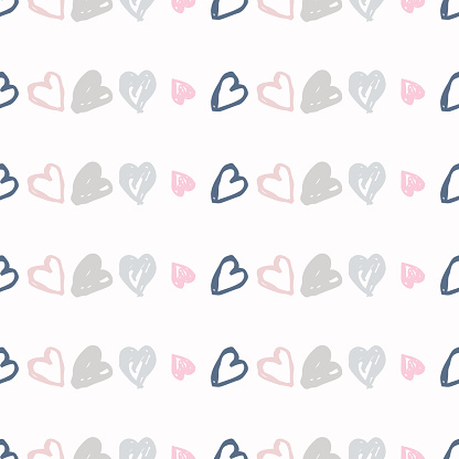Doodle seamless pattern with hearts