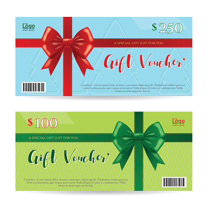 Christmas gift card or gift voucher bow ribbon vector