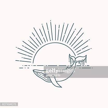 Modern flat linear vector illustration with Whale and sunrise